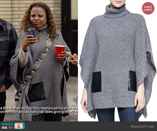MICHAEL Michael Kors Leather Pocket Knit Poncho worn by Tymberlee Hill on Marry Me