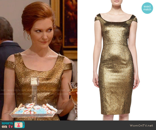 Michael Kors Metallic Off-Shoulder Dress worn by Darby Stanchfield on Scandal