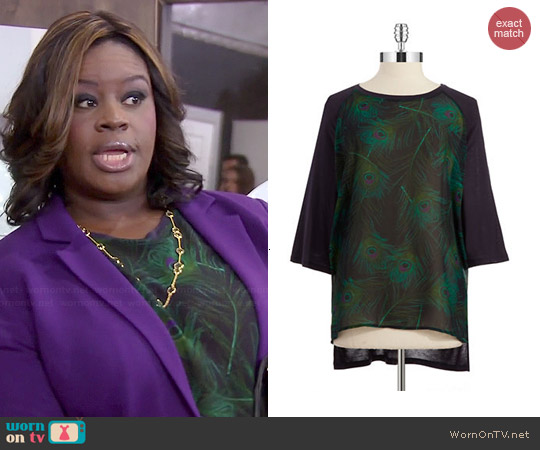 MICHAEL Michael Kors Peacock Feather Print Tunic worn by Retta on Parks & Rec