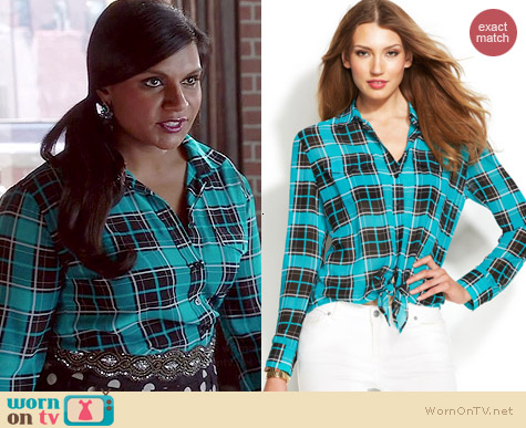 MICHAEL Michael Kors Plaid Tie Front Shirt worn by Mindy Kaling on The Mindy Project