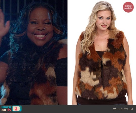 MICHAEL Michael Kors Caramel Fur Vest worn by Amber Riley on Glee