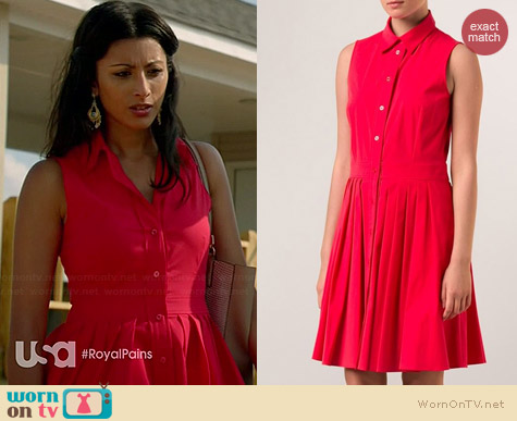Michael Kors Poplin Shirtdress worn by Reshma Shetty on Royal Pains