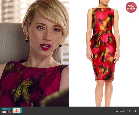 Michael Kors Zinnia Printed Shantung Dress worn by Karine Vanasse on Revenge