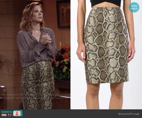 MICHAEL Michael Kors Python Print Pencil Skirt worn by Gina Tognoni on The Young & the Restless