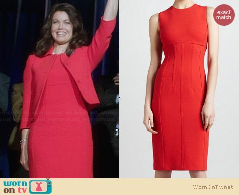 Michael Kors Red Boucle Sheath Dress worn by Bellamy Young on Scandal