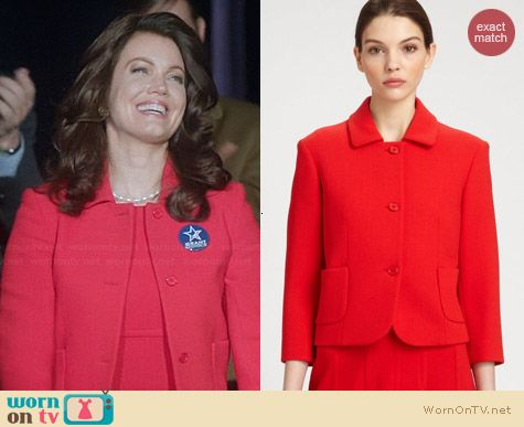 Michael Kors Red Boucle Jacket worn by Bellamy Young on Scandal