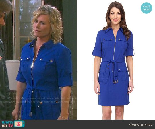 MICHAEL Michael Kors Roll Sleeve Belted Shirt in Royal worn by Mary Beth Evans on Days of our Lives