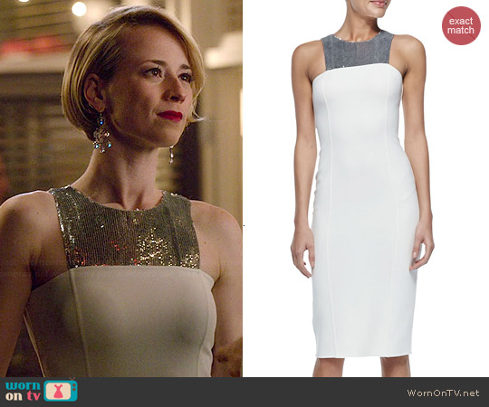 Michael Kors Sequined Halter Sheath Dress worn by Karine Vanasse on Revenge