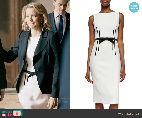 Michael Kors Sleeveless Sheath Dress w/Bow Belt worn by Téa Leoni on Madam Secretary