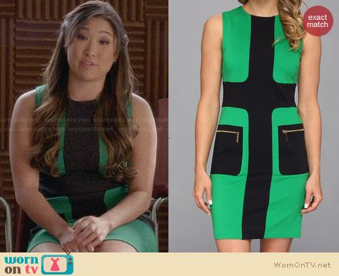 MICHAEL Michael Kors Sleeveless Zip Pocket Dress in Spring Green worn by Jenna Uskowitz
