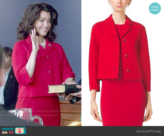 Michael Kors Stretch Boucle Crepe Cropped Jacket worn by Bellamy Young on Scandal