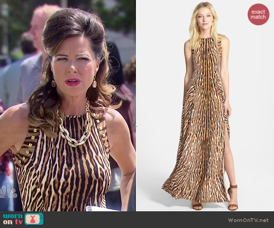MICHAEL Michael Kors Studded Mix Print Maxi Dress worn by Mo Collins on Parks & Rec