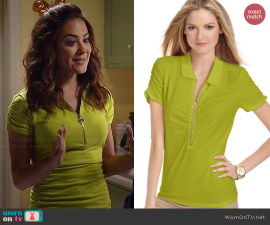 Michael Kors V-neck Zipper Ruched Polo worn by Camille Guaty on Happyland