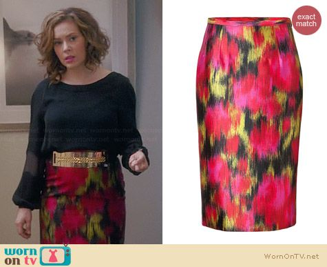 Michael Kors Wool-Silk Ikat Pencil Skirt worn by Alyssa Milano on Mistresses