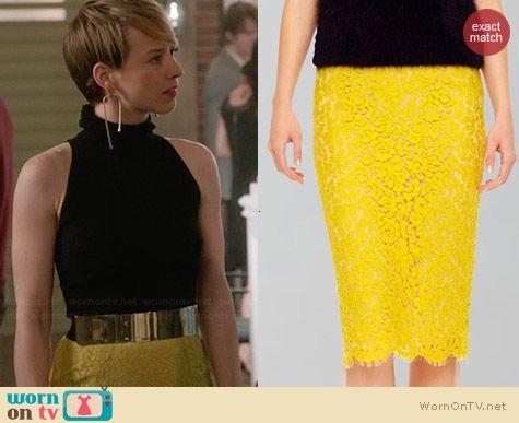 Michael Kors Yellow Lace Pencil Skirt worn by Karine Vanasse on Revenge