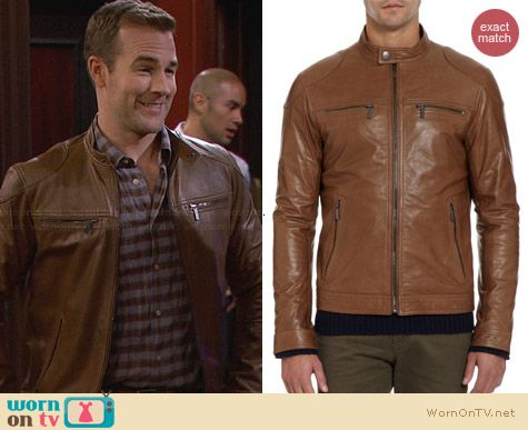 Michael Kors Zip Front Leather Jacket worn by James Van Der Beek on FWBL