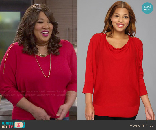 MICHAEL Michael Kors Zip Shoulder Sweater Top worn by Kym Whitley on Young & Hungry