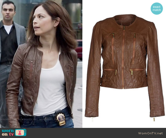 MICHAEL Michael Kors Distressed Leather Jacket worn by Kristin Kreuk on Beauty & the Beast