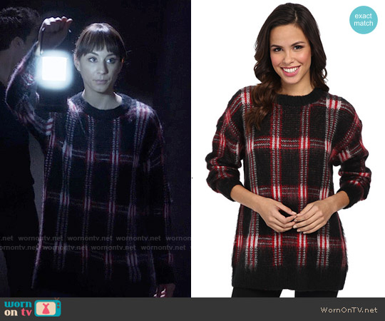 MICHAEL Michael Kors Plaid Sweater worn by Troian Bellisario on PLL