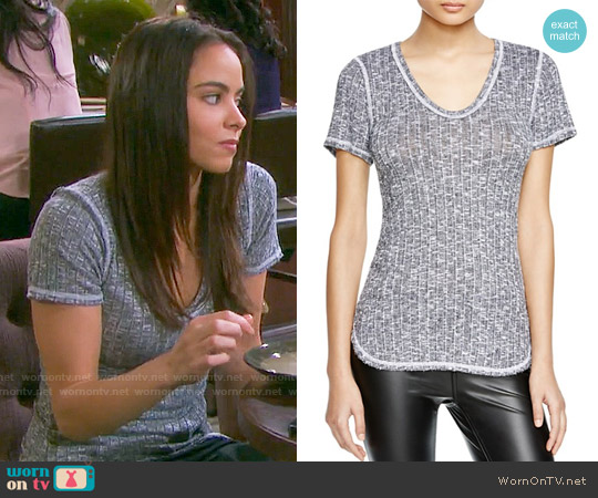 Michael Stars U-Neck Rib Tee worn by Victoria Konefal on Days of our Lives