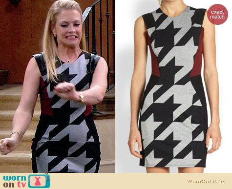 Mason by Michelle Mason Houndstooth Combo Dress worn by Melissa Joan Hart on Melissa & Joey