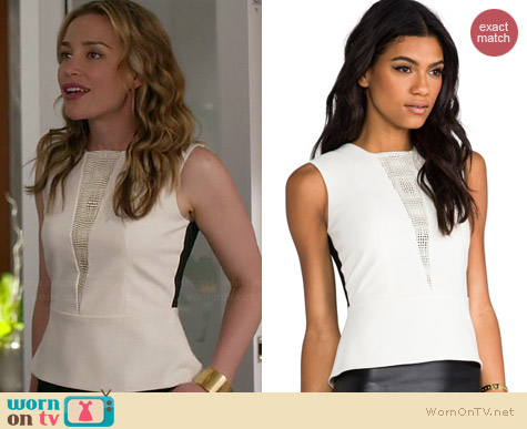 Mason by Michelle Mason Lazer Leather Peplum Top worn by Piper Perabo on Covert Affairs