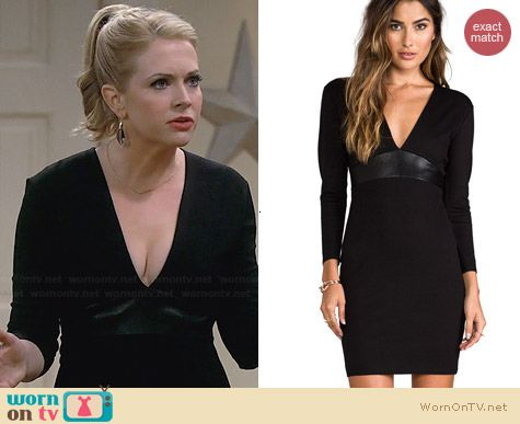 Mason by Michelle Mason Leather Belt Dress worn by Melissa Joan Hart on Melissa & Joey