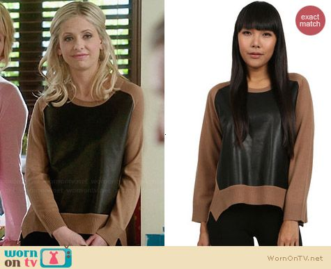 Mason by Michelle Mason Leather Front Sweater worn by Sarah Michelle Gellar on The Crazy Ones
