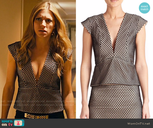 Mason by Michelle Mason Mesh Peplum Top worn by Jes Macallan on Mistresses
