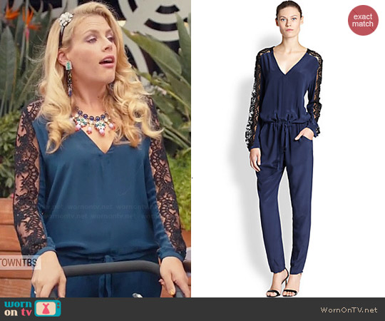 Mason by Michelle Mason Lace Panel Silk Jumpsuit worn by Busy Phillips on Cougar Town