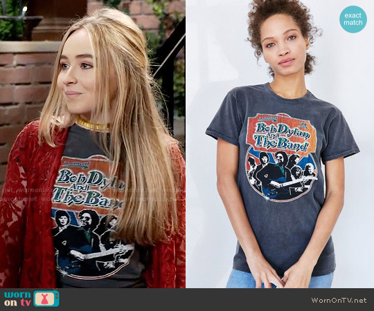Midnight Rider Bob Dylan Tee worn by Sabrina Carpenter on Girl Meets World