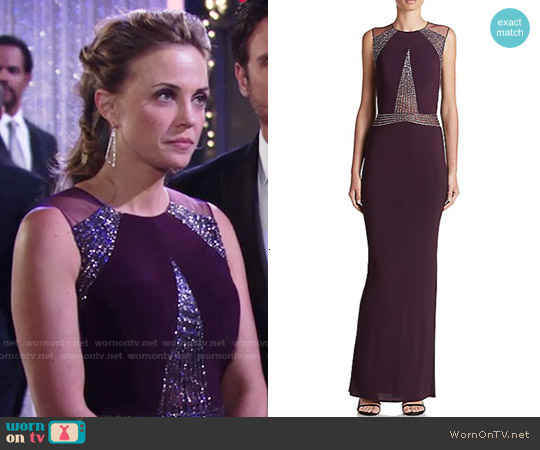Mignon Paneled Jersey Gown in Aubergine worn by Kelly Sullivan on The Young & the Restless