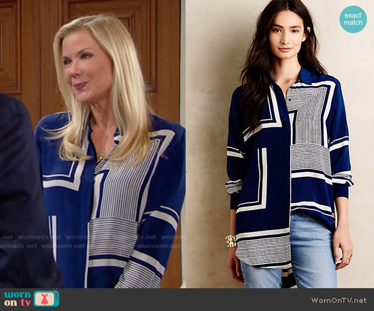 Anthropologie MiH Printed Silk Buttondown in Blue worn by Katherine Kelly Lang on The Bold & the Beautiful