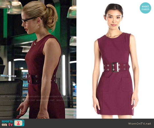 Milly Belted Mini Dress in Burgundy worn by Emily Bett Rickards on Arrow
