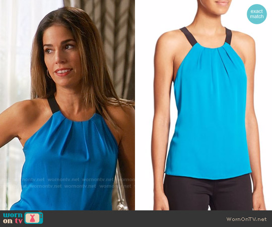 Milly Contrast Crepe Top worn by Ana Ortiz on Devious Maids
