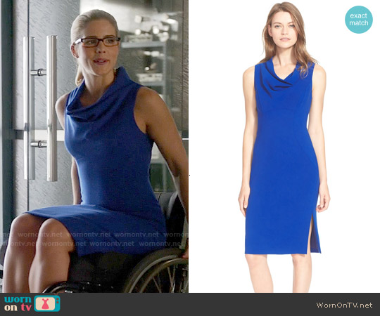 Milly Cowl Neck Sheath Dress worn by Emily Bett Rickards on Arrow