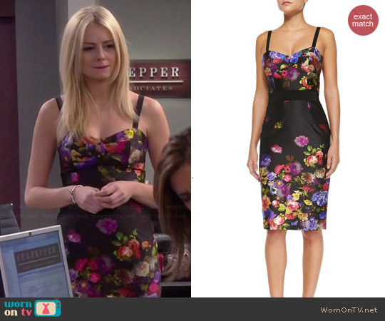 Milly Bouquet Floral-Print Sateen Dress worn by Justine Lupe on Cristela