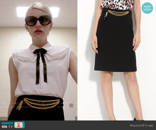 Milly Chain Front Pencil Skirt worn by Chanel Oberlin on Scream Queens