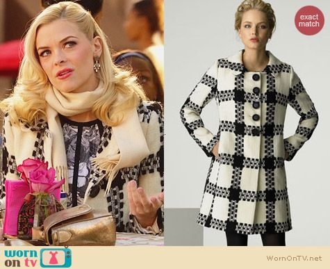 Milly Check Pattern Coat worn by Jaime King on Hart of Dixie
