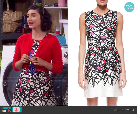 Milly Coco Abstract Print Dress worn by  Molly Ephraim on Last Man Standing