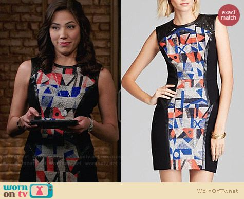 Milly Couture Geometric Jacquard Sheath worn by Michaela Conlin on Bones