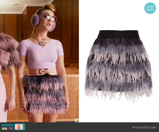 Milly Feather and Silk Mini Skirt worn by Billie Lourd on Scream Queens