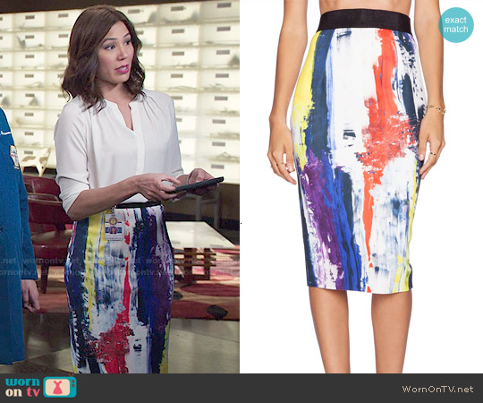 Milly Graffiti Print Pencil Skirt worn by Michaela Conlin on Bones