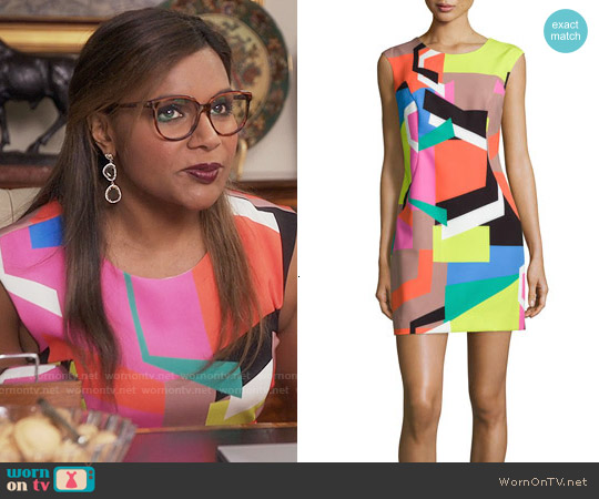 Milly Graphic Print Modern Dress worn by Mindy Kaling on The Mindy Project