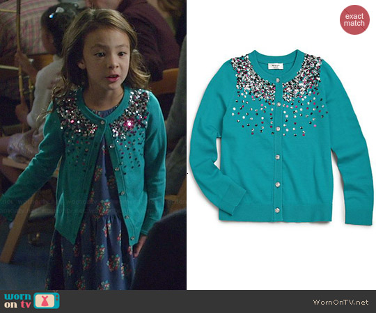 Milly Minis Sequin Cardigan in Emerald worn by Aubrey Anderson-Emmons on Modern Family