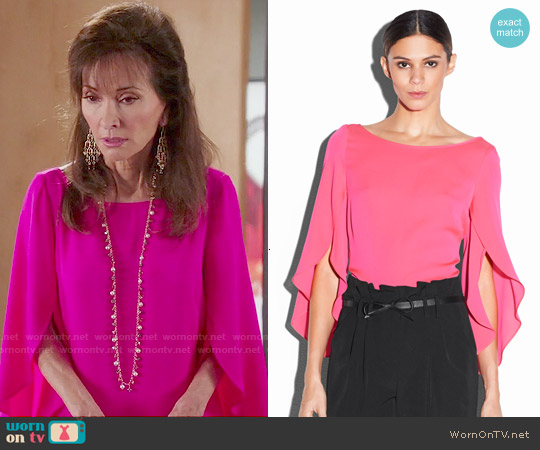 Milly Butterfly Sleeve Blouse worn by Susan Lucci on Devious Maids