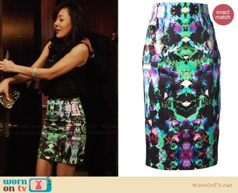 Milly Printed Pencil Skirt worn by Yunjin Kim on Mistresses