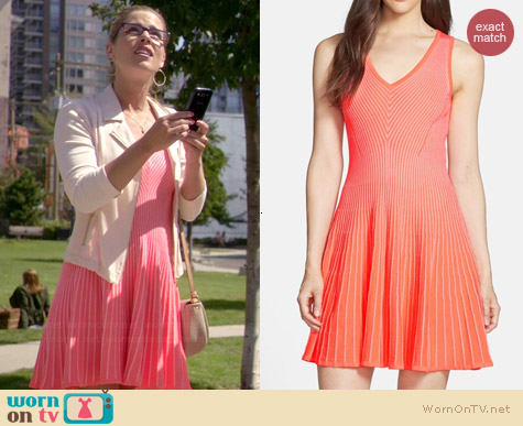 Milly Rib Stretch Flare Dress worn by Emily Bett Rickards on The Flash