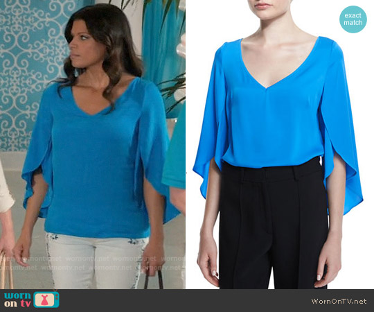 Milly Silk V-Neck Butterfly-Sleeve Blouse worn by Andrea Navedo on Jane the Virgin