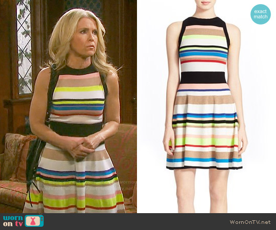 Milly Striped Fit & Flare Dress worn by Melissa Reeves on Days of our Lives